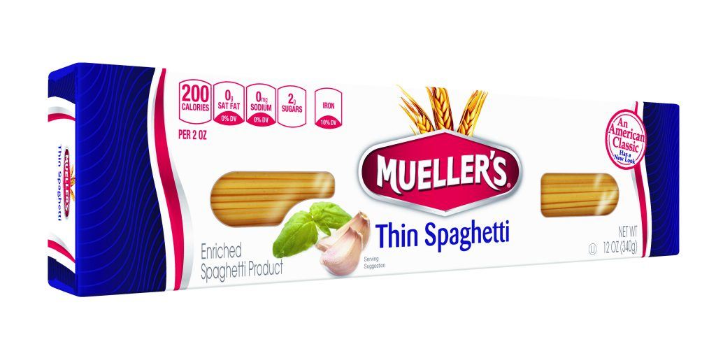 box of thin spaghetti noodles from muellers pasta