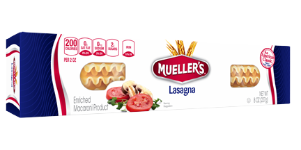 box of lasagna noodles from muellers pasta