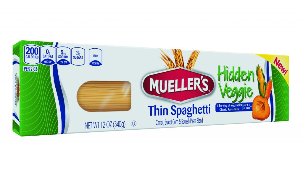 thin spaghetti with hidden vegetables pasta from muellers