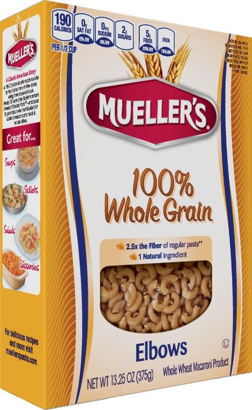 Muellers high fiber whole grain elbow pasta