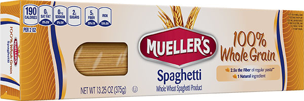 Muellers 100% whole grain high fiber spaghetti noodles