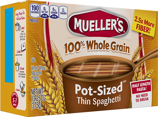 Box of Muellers 100% high fiber whole grain thin spaghetti half length no need to break