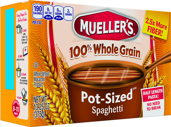 Muellers 100% high fiber whole grain spaghetti half length no need to break