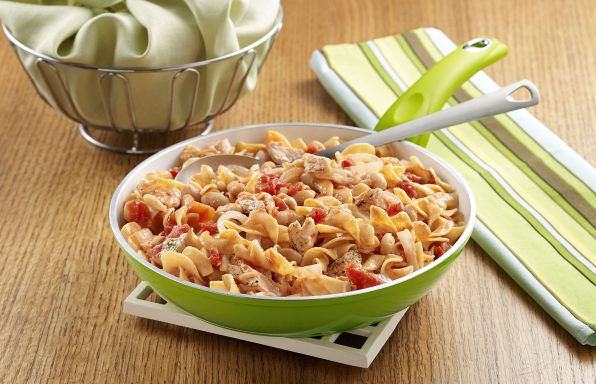 Italian Salmon Skillet with Noodles An egg noodle recipe with fresh salmon, tomatoes, white beans and white wine