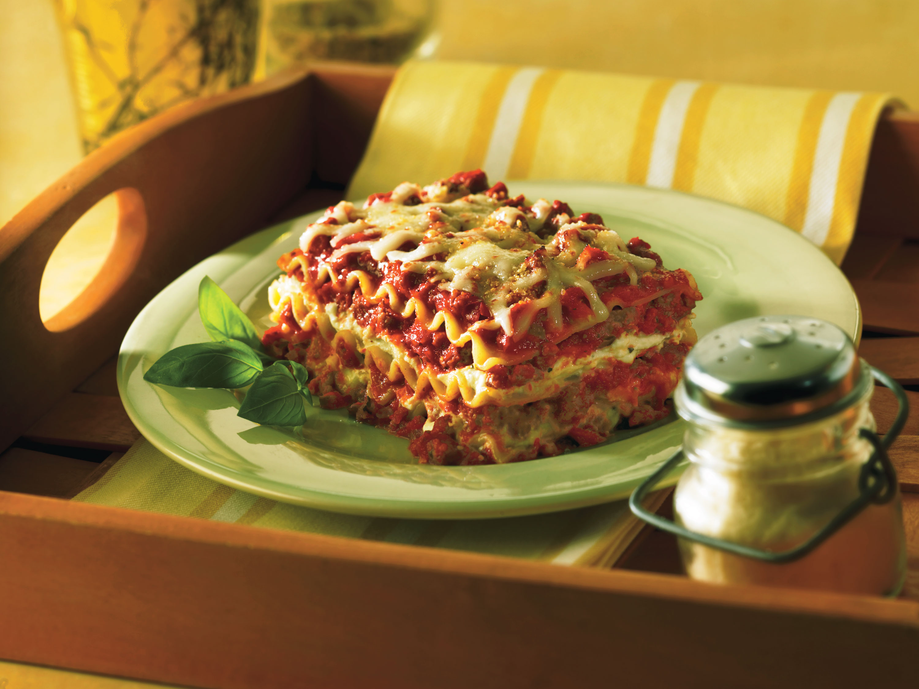 No-boil classic lasagna with layers of noodles, tomato sauce, ground beef, and cheese
