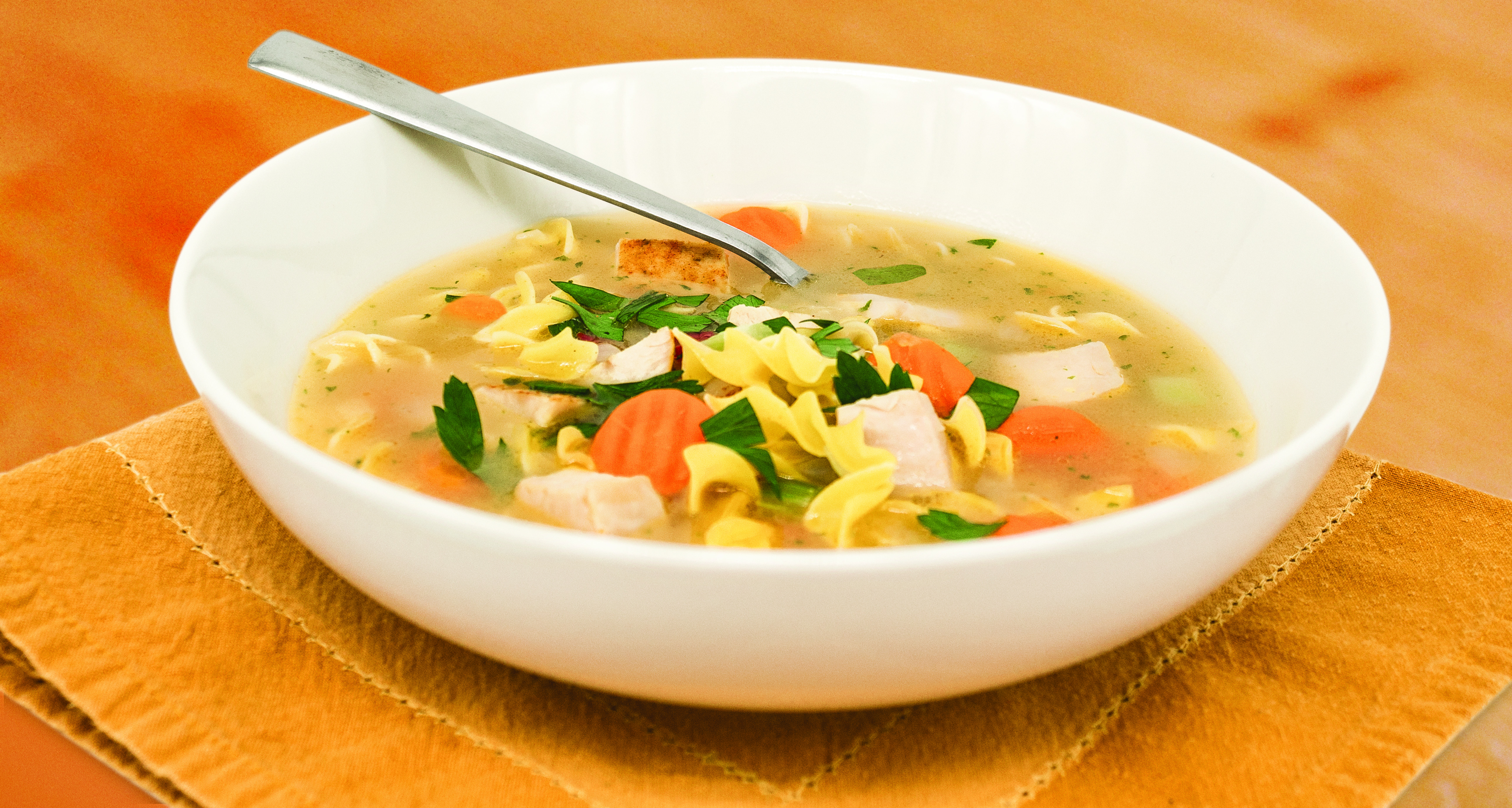 Turkey Noodle Soup With Egg Noodles Carrots And Cubed Turkey In A Light Broth