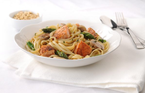 Linguine with salmon and fresh asparagus in a brown butter sauce