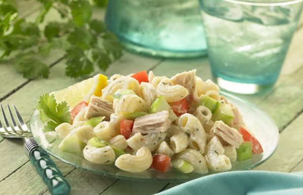 Elbows paired with tuna, tomatoes, cucumber, and green onions in a mayonnaise sauce