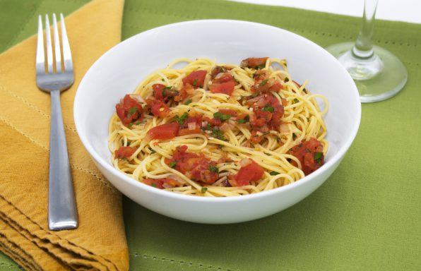 Angel hair marinara with tomatoes, garlic, basil, and fresh parsley