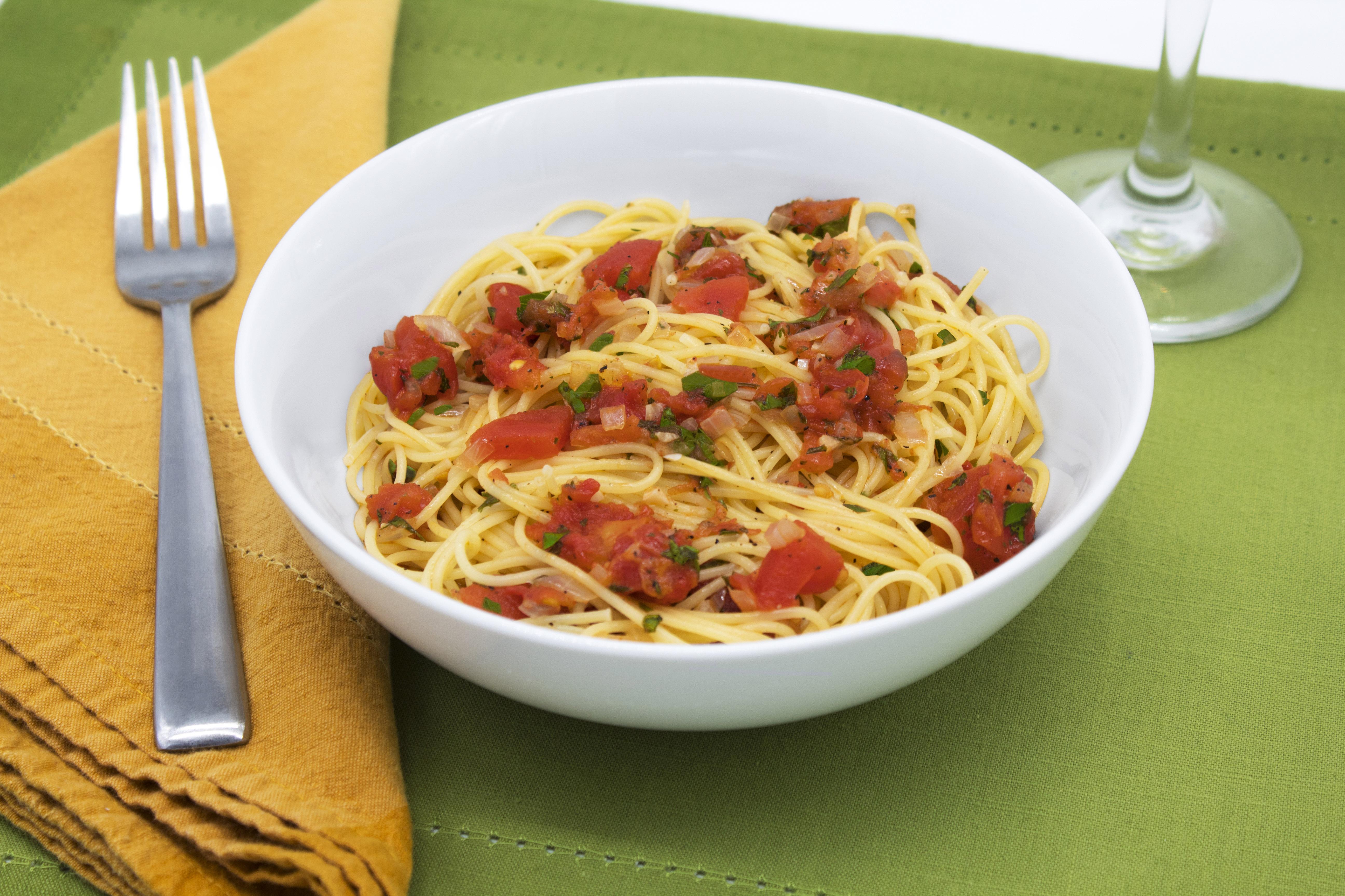 Angel hair marinara with tomatoes, garlic, basil, and fresh parsley